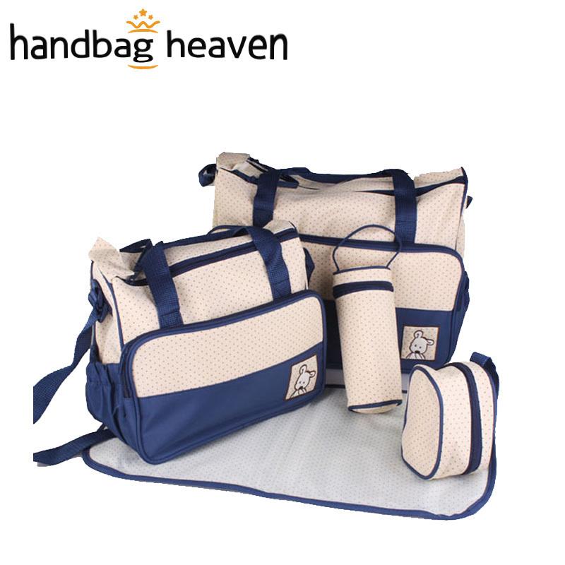 wholesale Fashion Mummy Bag For Baby Nappy Bags Red Dark Blue Light Bule Pink Purple Black Khaki(5pcs/set )7 Color Set(China (Mainland))