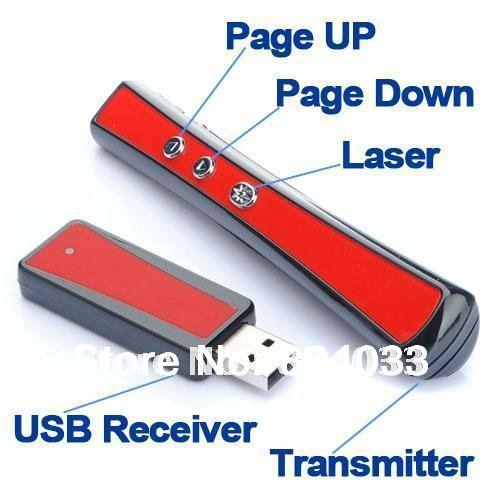 T USB Wireless RF 2.4G Remote Control Presentation Presenter Laser Pointer PowerPoint Slide PPT Teach Pen 3mW Lecture Speech(China (Mainland))