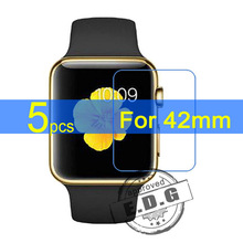 5pcs Gloss Ultra Clear LCD Screen Protector Film Cover For Apple Watch 42mm Film + cloth