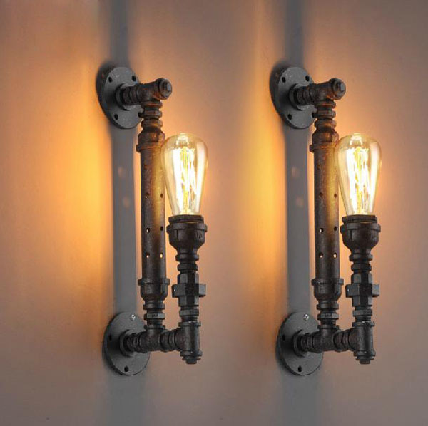 Retro Loft Vintage Industrial Lustre Iron Water Pipe ...