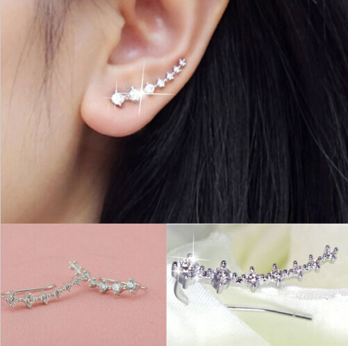 1 Pair Silver Gold Plated Stars Element Crystal Pearl Earrings Ear Hook For Women Girl Stud