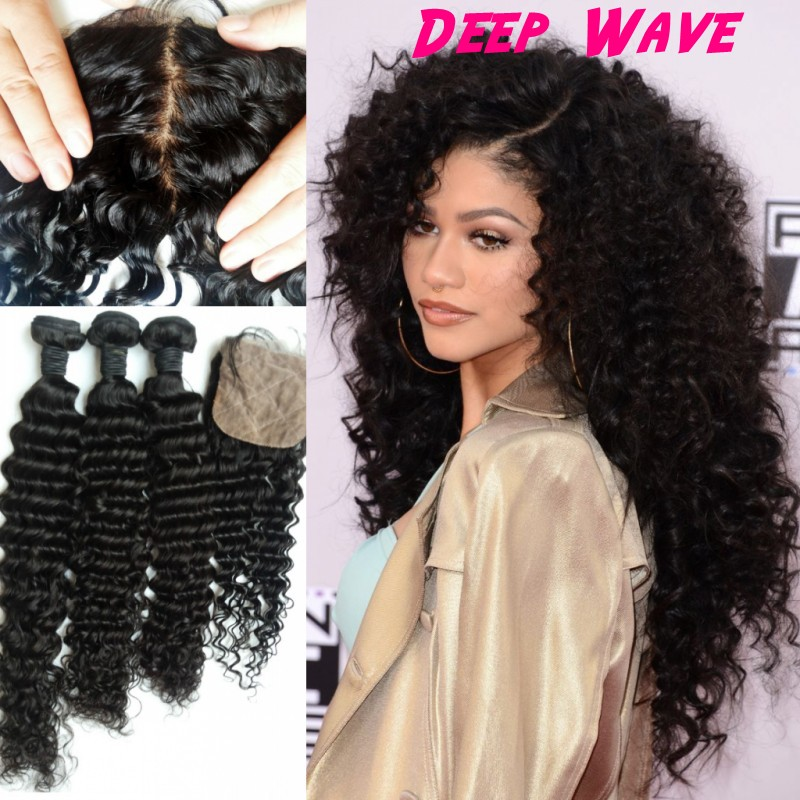 8A Brazilian Curly Virgin Hair With Closure Brazilian Hair With Closure Deep Curl Deep Wave Human Hair Bundles With Silk Closure
