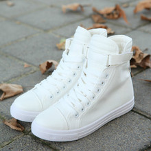 New Hot 2016 Spring Women Lace-Up Casual Shoes for Students Fresh Rubber Solid Ankle Boots Girls High Top Fashion Canvas Shoes