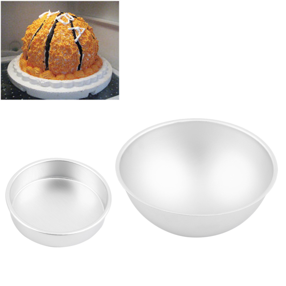 Hot Sale 3D Aluminum Ball Sphere Bath Mold Cake Pan Tin Baking Pastry Mould Quality Chocolate Mould Bowl Birthday Bakeware(China (Mainland))