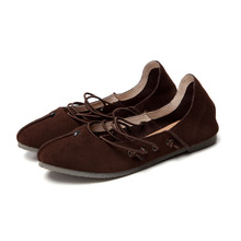 Whensinger 2016 Women Flats Female Shoes Genuine Leather Loafers Cute Casual Ballet Dance Solid Elastic Band Retro Fashion LA9(China (Mainland))