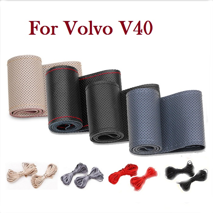 New PU Car Steering Wheel Leather Cover With Needles and Thread for Volvo V40(China (Mainland))