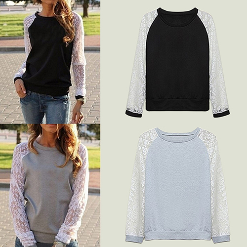 2016 Summer Fshion Women Patchwork White Lace Hoodies Long Sleeve Outerwear Pullover Sweatshirt Top