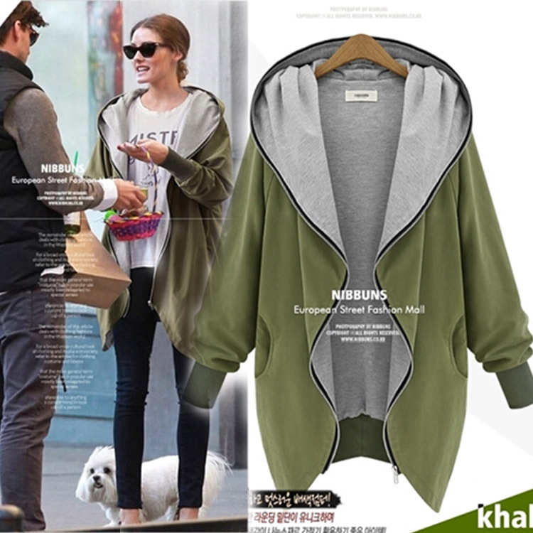Europe and America Fashion Casual Hooded Large Size Women Autumn Increase The Fat Sister Was Thin Jackets Women outerwear coats(China (Mainland))