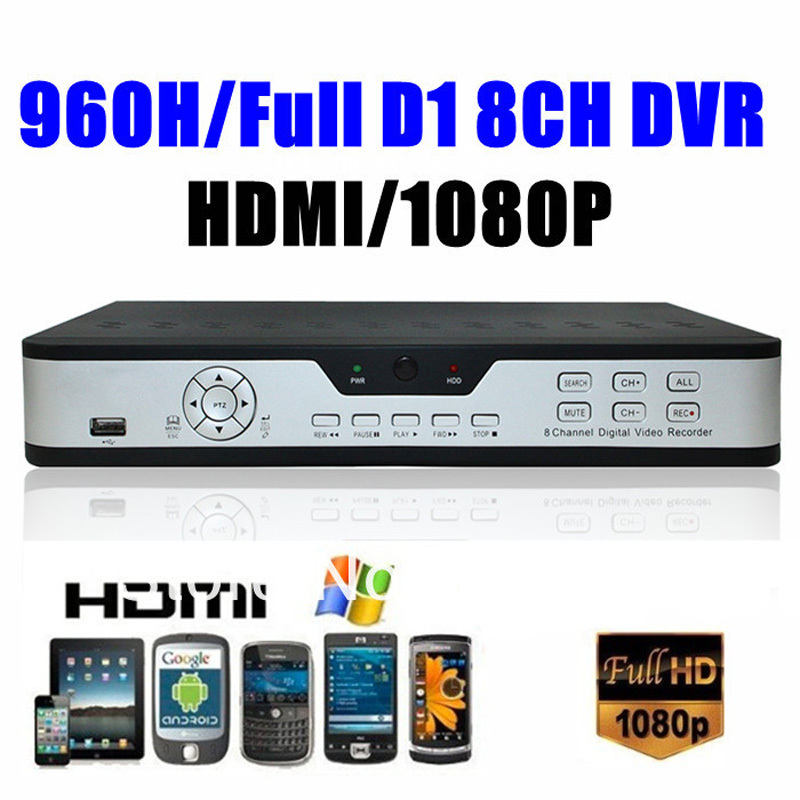8 Channels Full D1 960H Surveillance Security CCTV H.264 Network DVR video Recorder with HDMI output and 1TB Hard disk