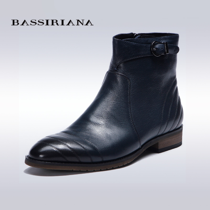 BASSIRIANA Full Grain Leather shoes for men Mens Fashion Ankle Boots Flat with Blue color 39-45SIZE Round Toe Zip Free shipping(China (Mainland))
