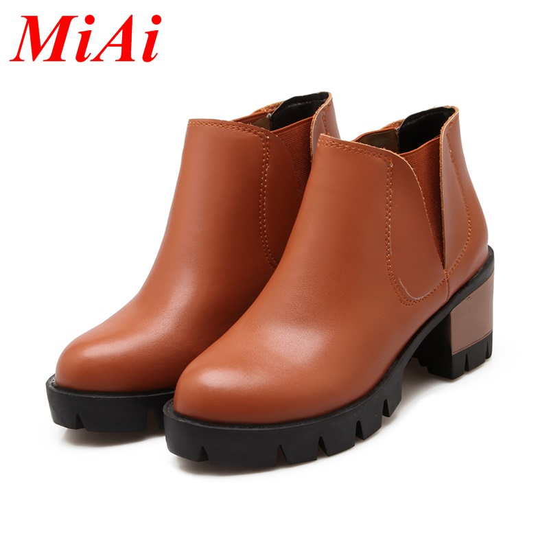 fashion autumn shoes woman ankle boots ladies high heels black women's casual shoes plus size 34-43 chunky heels platform boots