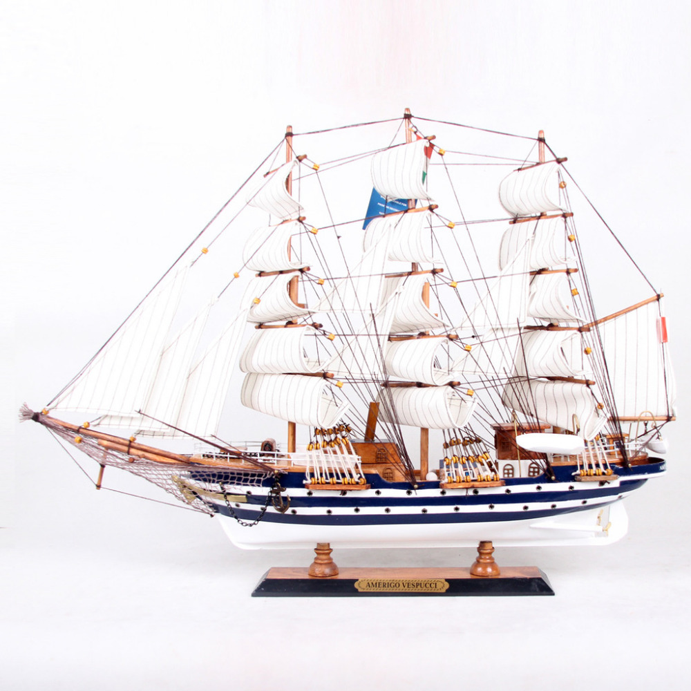 65cm Handmade Ship Craft Wooden Sailing Boat Wood Sailboat Model Home Decor(China (Mainland))