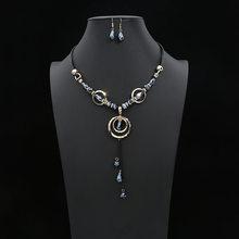 Crazy פנג יוקרה אקריליק חרוזים תכשיטי סט ארוך תליון שרשראות Drop עגילים לנשים בציר דובאי תלבושות Jewerly NE + EA(China)