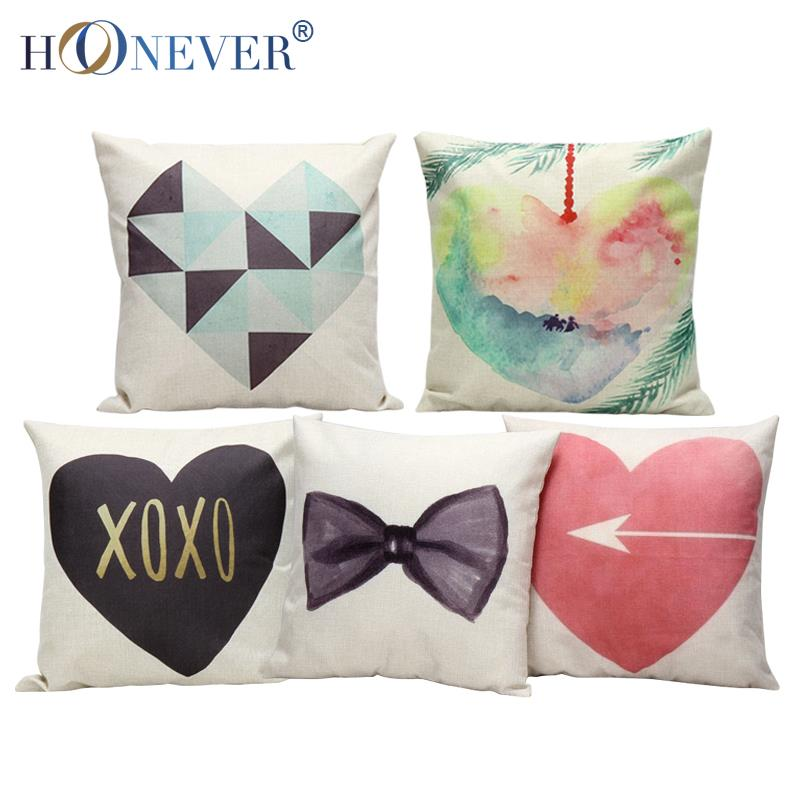 LOVE Heart Cushion Cover Lovers Bowknot Cotton Linen Pillow Case Couples Cushion Cover Sofa Bed Decor(China (Mainland))