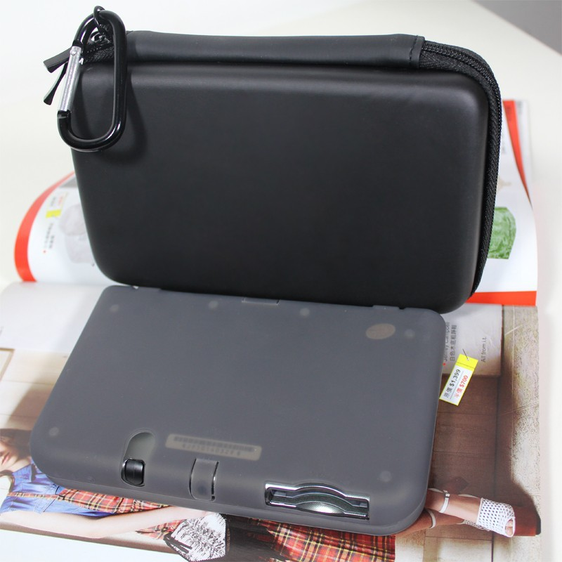 New 3DSXL/ LL Travel Carry Bag, Hard Case Protective Cover + New 3DS LL Silicone case ( black or white color for option)