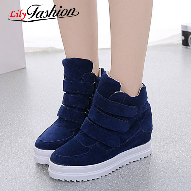 2016 Brand AutumnWomen Winter Shoes Suede Ankle Boots Heels Platform Wedge Height Increasing ASP58 - ZIZI MM Store store
