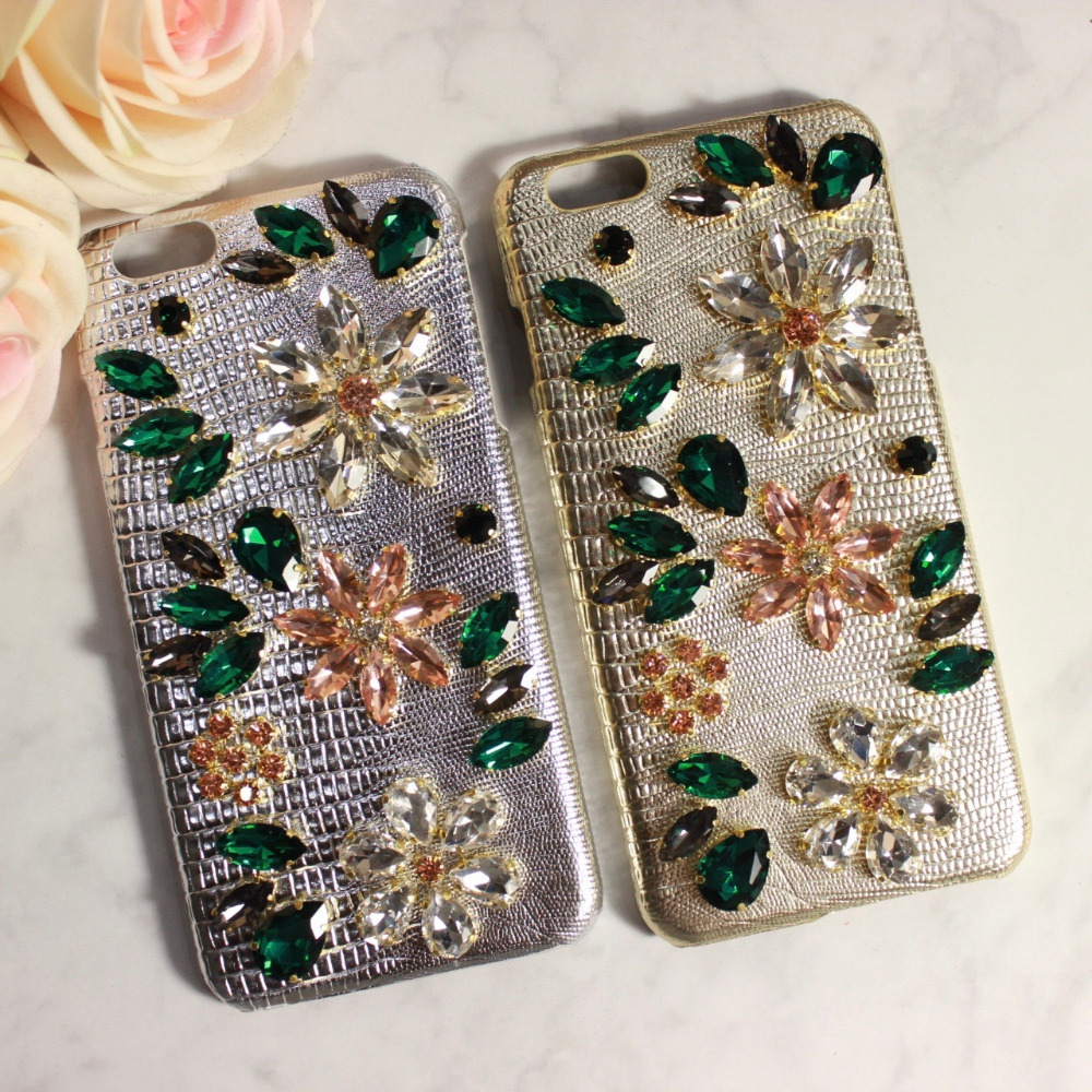 Luxury Gold Silver 3D Daisy Mosaic Case For iPhone 6 6S Plus Crystal Diamond Gemstone Swarovski Back Case Jewelled Cover(China (Mainland))