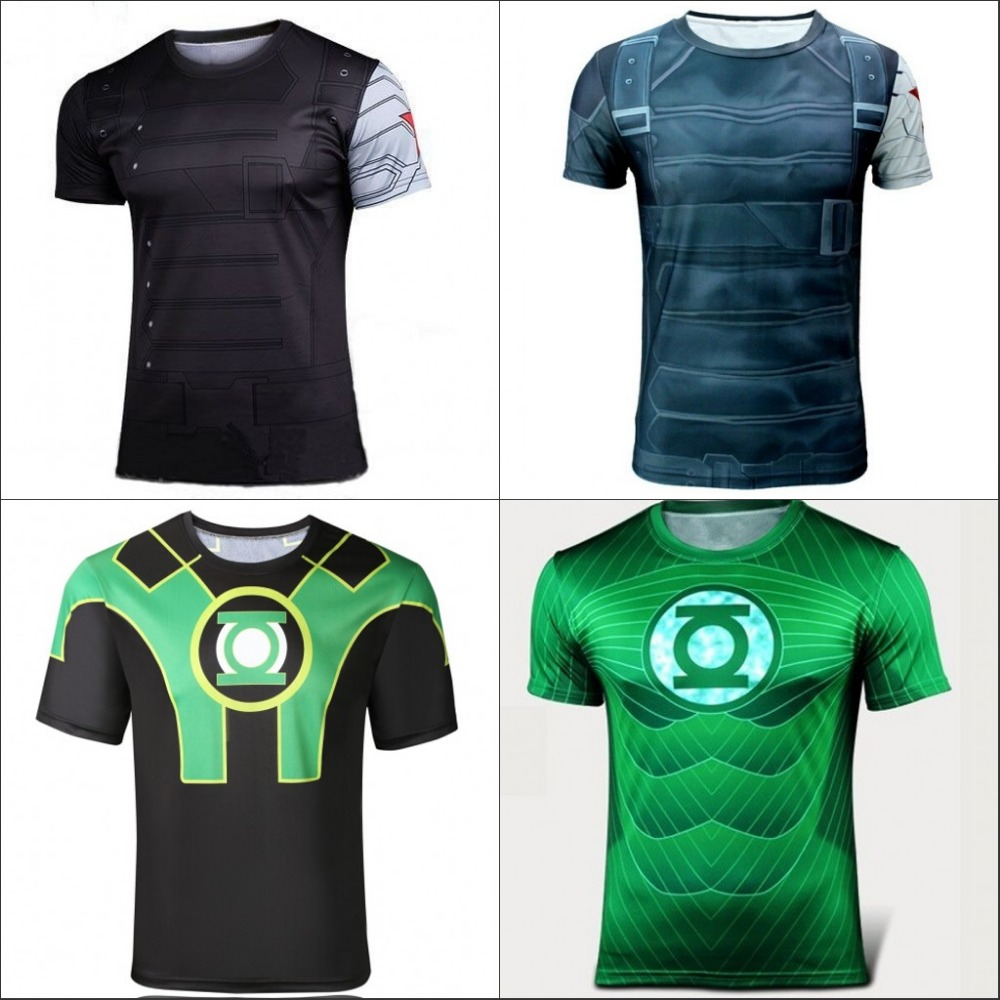 Batman Spiderman Venom Ironman Superman Captain America Winter soldier Marvel short T shirt Avengers Costume DC Comics Superhero(China (Mainland))