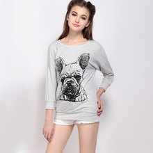 Women new fashion spring street wind dog print sweatshirts cotton loose pullovers hoodies womens casual hoody ZH1041(China (Mainland))