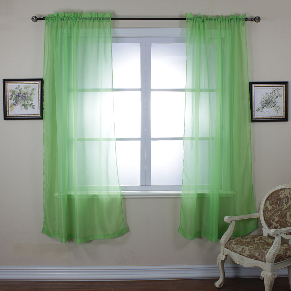 Two Panels Per Pack Fashion Solid Transparent Tulle Sheer Voile Teal Curtain Panel Green Cortina