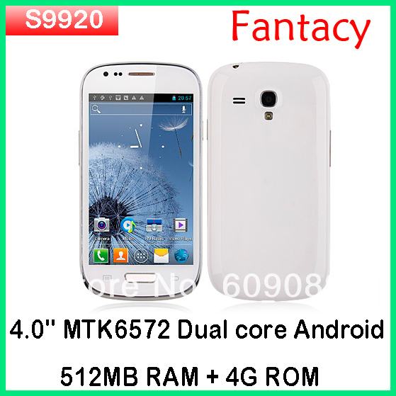 "Cheapest dual core phone Star S9920  MTK6572 Dual-Core Android 4.1 os 4.0"" Touch Screen 3G GPS WIFI black/white"