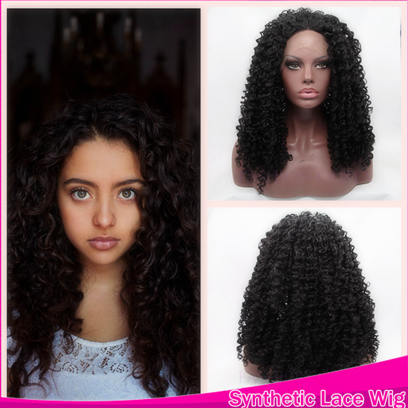 2016 Newly Designed Fashion And Breathable 12-26 Inches For Women Kinky Curly синтетический Lace Front парик Термоустойчивый To 350F