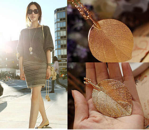 Hot Sale Restoring Ancient Ways Long Sweater Chain Necklace Golden Leaves Necklace Ladies Jewelry Drop Shipping 2015 12pc/lot(China (Mainland))