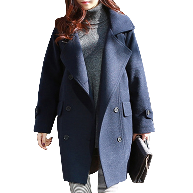 Manteau Femme 2015 New Women Winter Long Loose Korean Style Full Sleeve Turn-Down Collar Solid Color Warm Coat Poncho WWN806Одежда и ак�е��уары<br><br><br>Aliexpress