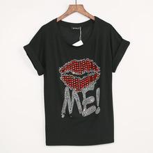 Buy 3 Colors New Fashion t shirt women Lip & Diamonds Print T-shirt Women 2017 Summer Hot Sale Top Tops Tee Shirt Femme Free Ship for $6.82 in AliExpress store