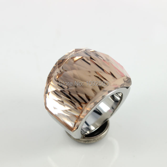 Fashion women luxury brand crystal Jewelry ring 316L Stainless steel with Transparent Champagne cut crystal ring(China (Mainland))