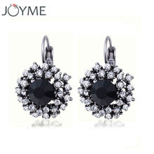 Vintage Crystal Rhinestone Clip On Earrings For Women Fashion Accessories Silver Plated Multicolor Statement Clip Earrings(China (Mainland))