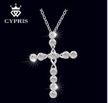 2016 N668 Lowest price Cross Christ Jesus necklace Religion women silver crystal CZ stone 1mm 18 collar GOD mercy 925 jewelry(China (Mainland))