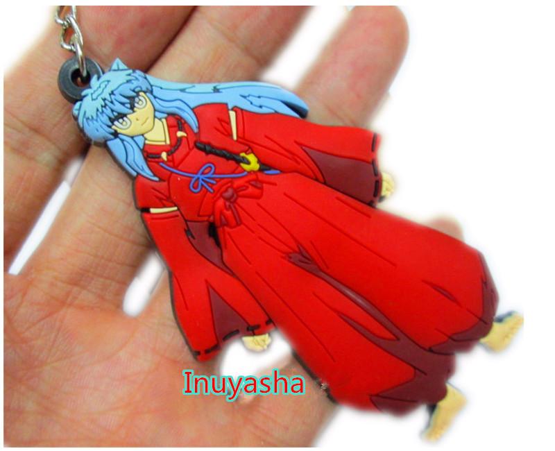 10 pcs/lot Inuyasha figure Pendant PVC keychain Anime cartoon accessory(China (Mainland))