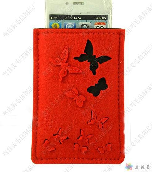Felt butterfly flying geen mobile phone bag fashion advertising promotional gifts can be customized and adding logo(China (Mainland))