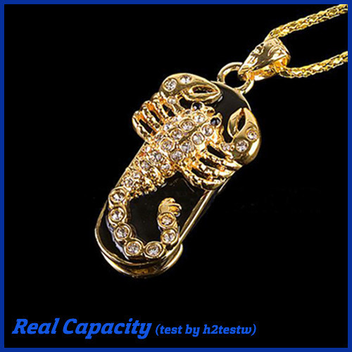 free shipping usb metal pendrive scorpion usb flash drive jewelry crystal pen drive 8gb usb stick women necklace 4gb 16gb 32gb(China (Mainland))
