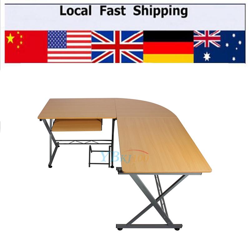 L-shaped PC Table Durable Computer Desk Modern Table Home Study Office Furniture Corner Desk Workstation(Hong Kong)