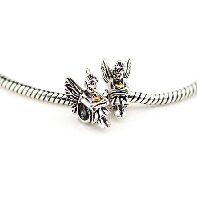 Старинное серебро пикси шарм подлинная угол бусины с золотым сердцем для европейских ...