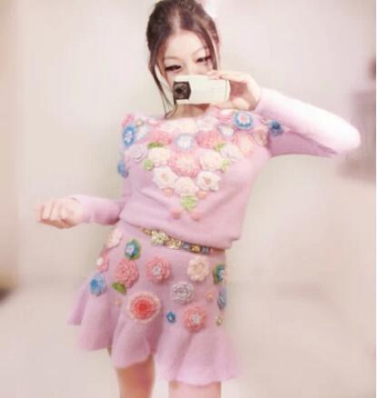 Здесь можно купить  Vintage sweater dress Classic cotton Hand-crocheted sweater hollow elastic waist angora mohair knit dress flouncing fishtail  Одежда и аксессуары