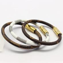 2015 Luxury Fashion Brand Stainless Steel Jewelry Genuine Leather Bracelet pulseiras Patterngrid Magnet Women Bracelets Bangles