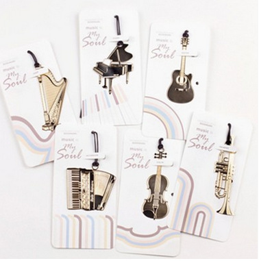 60PCS/LOT 6 Styles New Creative musical instrument designs Metal Bookmark/Gold Book marks(China (Mainland))