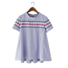 TB217 Korean Fashion 2016 Women Vintage Striped Print Blouse Geometric Embroidery Short Sleeve O-Neck Loose Casual Tops Shirts(China (Mainland))