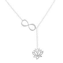 2016 New Arrival Infinity Lotus Lariat Pendant Necklace for Women Cute Long Chain Lotus Flower Jewelry