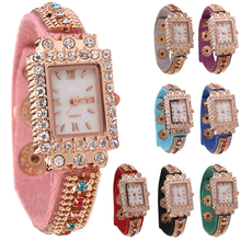 Popular Woman Candy Color Crystals Roman Numerals Bracelet Band Bangle Square Case Wrist Watch NO181 5V94 W2E8D