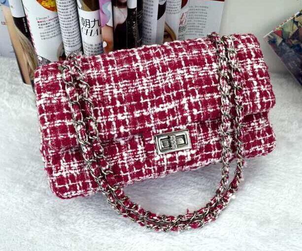 Вино-красный плед шерсть цепи мешок, Высокого класса композитный твидовые ткани сумки, Женская сумка