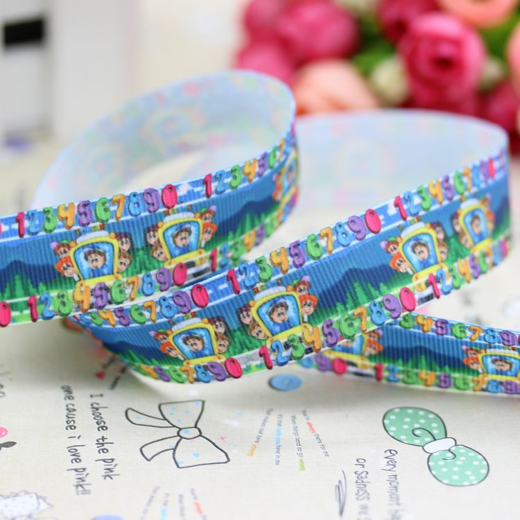 New 7/8'' Free shipping school bus printed grosgrain ribbon hairbow party decoration wholesale OEM 22mm H2324(China (Mainland))