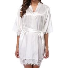Novas Mulheres Sexy Vestido de Casamento Vestido Curto Vestido de Noiva Lace Robe Quimono de Seda Gelo Roupa Cor Sólida Camisola Lingerie Plus Size(China)
