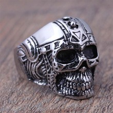 High Quality Stainless Steel Black Silver Men Skull Biker Rings Gentleman Jewelry Cheap Price 2015 US Size 8 9 10 11 12 (A417)(China (Mainland))