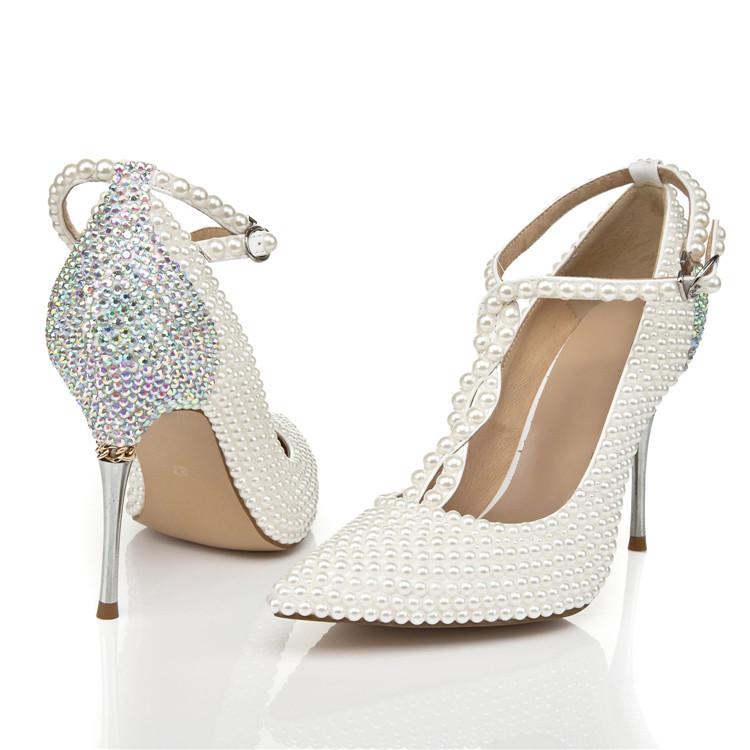 New handmade silver rhinestone wedding shoes pointed toe for Heels for wedding dress