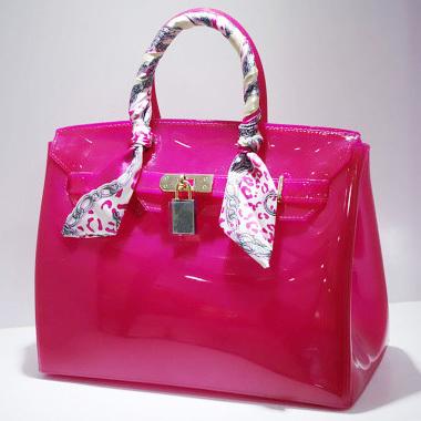 candy bag women bag furly candy handbag fashion big size PVC Silicone jelly handbags lock ribbons Summer Beach bag with scarf(China (Mainland))