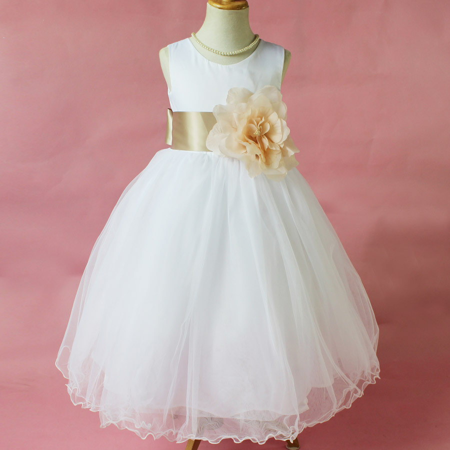Flower girl petals dress children bridesmaid toddler for Flower girls wedding dress